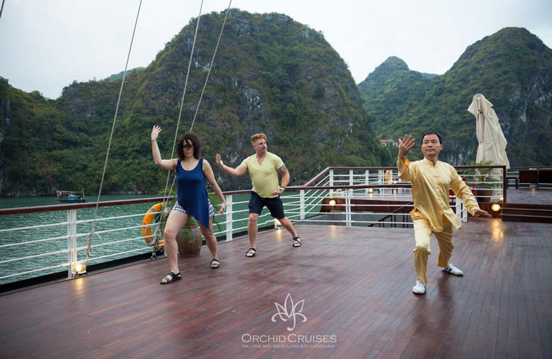 Do Tai Chi on Orchid Cruises Halong Bay- Lan Ha Bay Luxury Halong Cruises