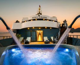Rosy Cruise is one of the most luxurious 5-star cruises available for visiting Halong Bay and Lan Ha Bay