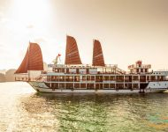 THE V'SPIRIT PREMIER CRUISE The eternal grandeur of Vietnam's Halong Bay unfurls from the wooden decks of the V'Spirit Premier Cruise, where every corner turned is a new angle on the purest artwork. We are a new luxury cruise in Halong Bay a poetic marriage of tradition and environment in the northeastern corner of our Vietnamese homeland. Built of the finest materials countrywide, The V'Spirit Premier Cruise is the essence of Vietnam, embodied in burnished wood and billowing sails, manifested by a cruise as steeped in tradition as it is in innovation.