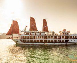 THE V'SPIRIT PREMIER CRUISEベトナムのハロン湾の永遠の壮大さは、V'Spirit Premier Cruiseのウッドデッキから広がります, すべての角が曲がるところは、最も純粋なアートワークの新しい角度です. 私たちはハロン湾の新しい豪華なクルーズで、ベトナムの故郷の北東の隅にある伝統と環境の詩的な結婚です. 全国最高級の素材で作られています, V'Spiritプレミアクルーズはベトナムの真髄, つやのある木材と渦巻く帆で実現, 革新的であると同時に伝統に染まったクルーズによって明らかに.